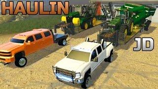 Farming Simulator 2015- Two Duramax Hauling New John Deere Equipment On Iowa Map!
