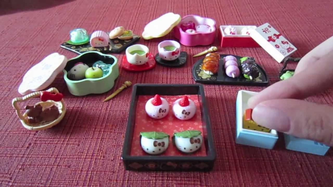 Sanrio x Re-ment Hello Kitty Hannari Japanese Sweets Set - YouTube