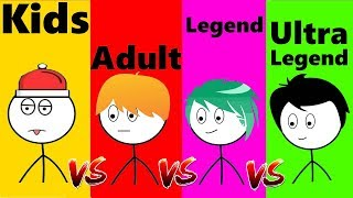 Kid VS Adult VS Legend VS Ultra Legend Gamers |  How To Exit From A Games | Azzloo