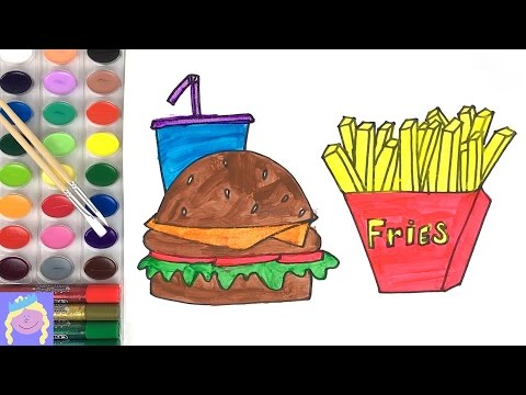Thumbnail: Learn How To Draw And Paint A Burger And Fries | Learn How To Draw And Paint | Fun Kids Painting Vid