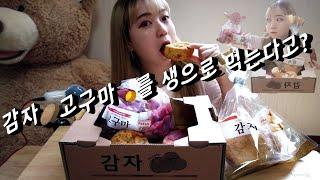 [아이디어스 먹방] 감자빵/고구마빵/달고나우유 먹방/ …