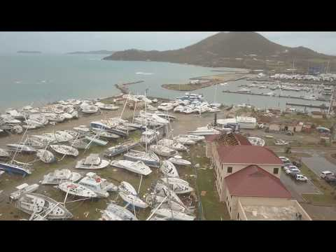 VIRGIN GORDA YACHT HARBOUR AERIAL AFTER IRMA