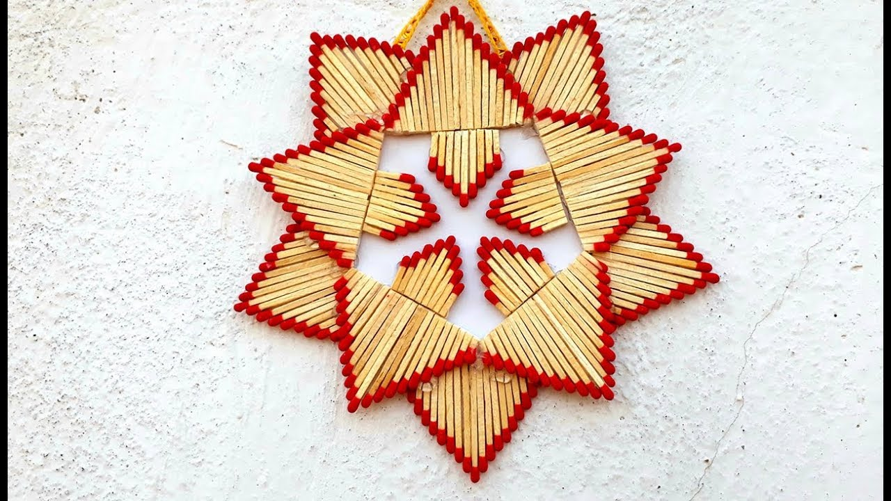 Matchstick star wall hanging. how to make matchstick wall hanging ...