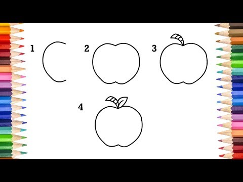 How to Draw Apple For Kids | Apple Drawing Step by Step Easy For Kids | Drawing For Telugu and Hindi