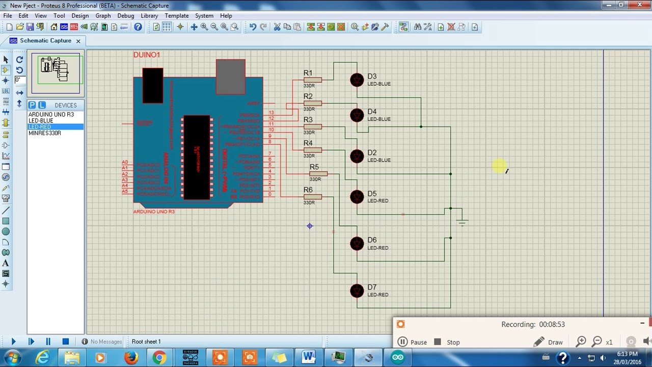 medium resolution of arduino led blinking knight rider project in proteus 8 isis tutorial 05 youtube
