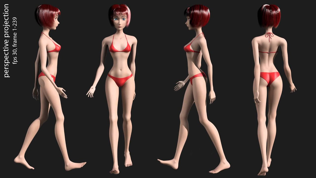 Maya 2014 3D render animation sexy girls in bikini, animation gait and ...