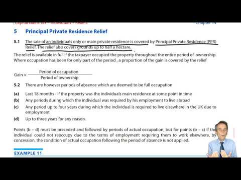 Principal Private Residence Relief – ACCA Taxation (TX-UK) Exam FA2019