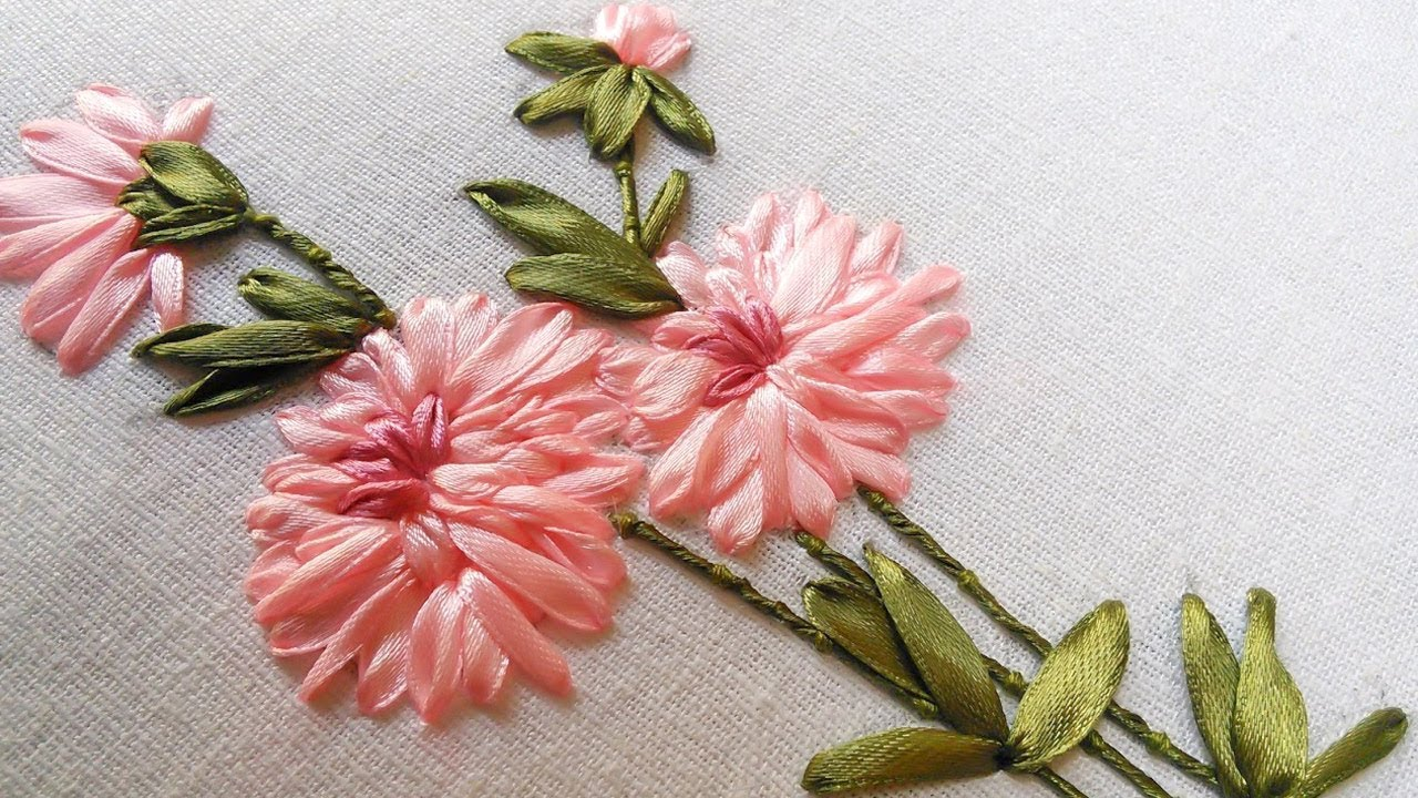 Bed sheet designs hand embroidery - Hand Stitch And Flower Beautiful Ribbon Design Handiworks 49