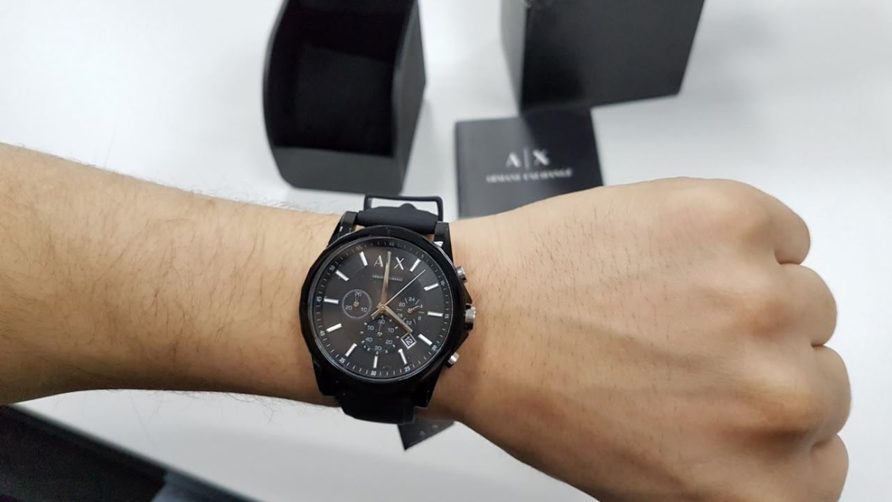 Armani Exchange Men s AX1326 Black Silicone Quartz Watch - YouTube cb279538d5