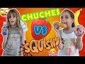 CHUCHES vs SQUISHY CHALLENGE 🍌🍩🎉// RETO de squishies🎊😍😍