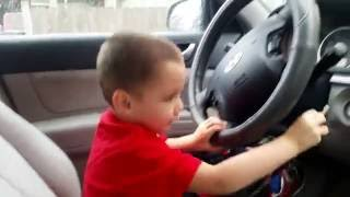 the four year old driver..
