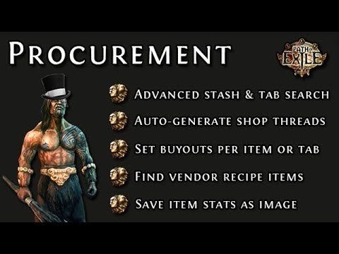Path of Exile: How to Run a Shop Thread with Procurement (Stash Management Software)