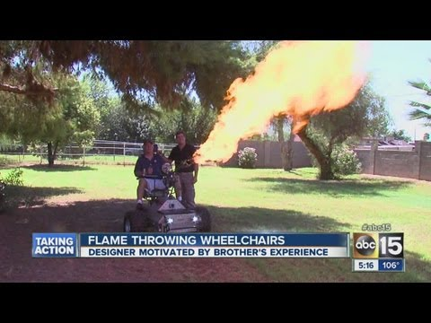 Flame throwing wheelchairs