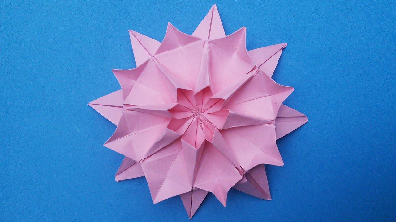 Dahlia origami paper flower new hand work handiworks 15 youtube mightylinksfo