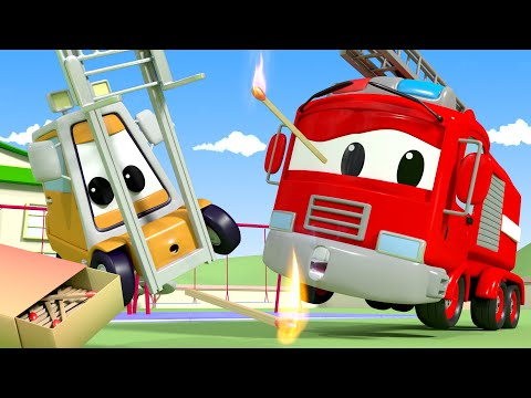 Playing With FIRE! - The Car Patrol in Car City Police Car & Fire Truck for Kids
