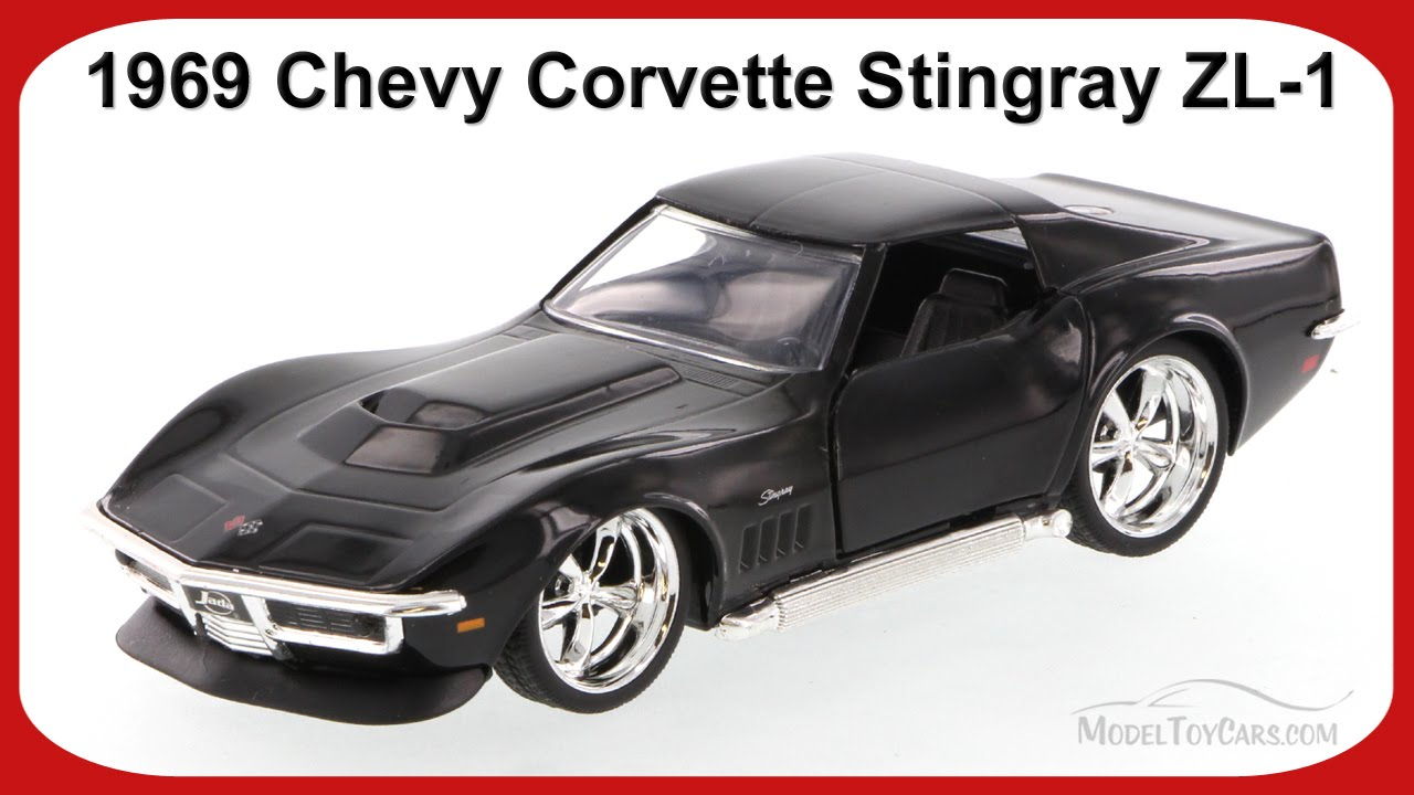 1969 chevy corvette stingray zl 1 black jada toys 96925 1 32 scale diecast car
