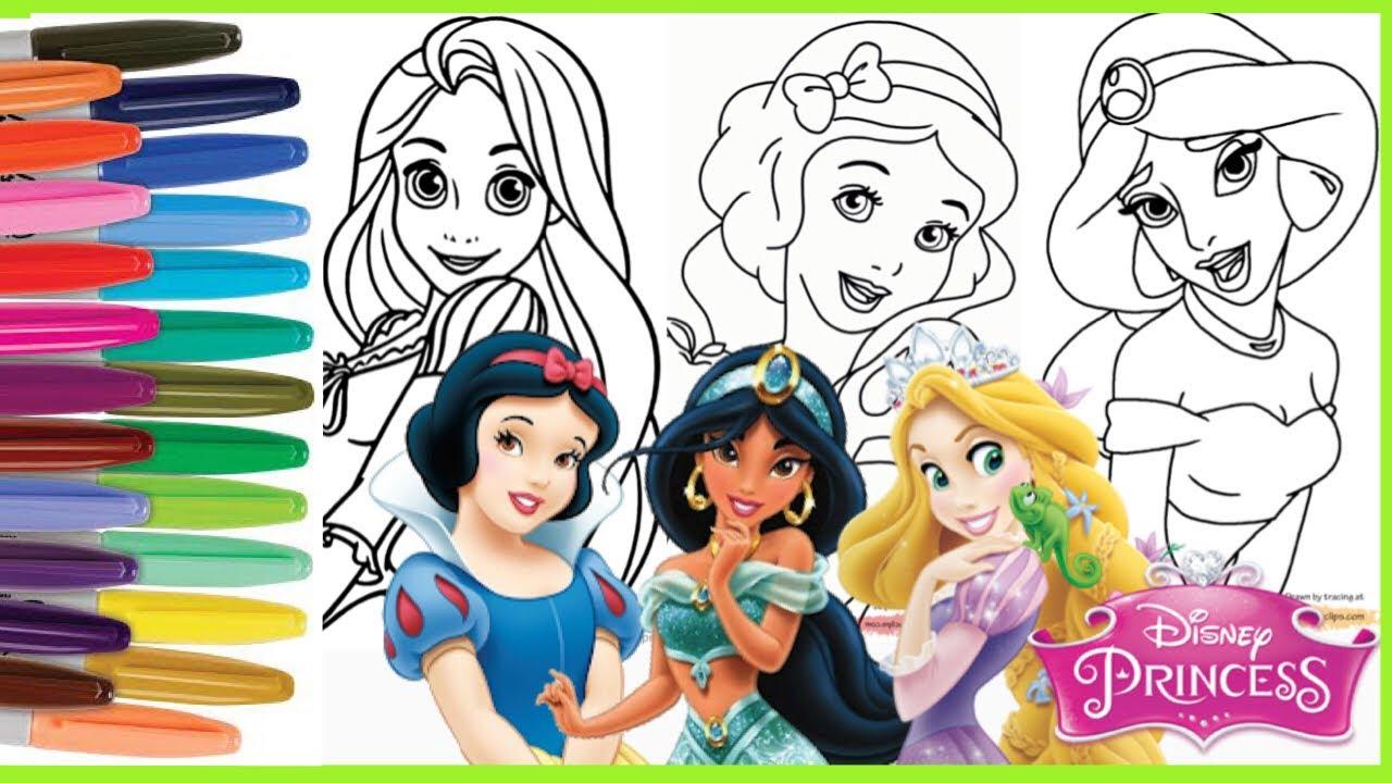 Disney Princess Coloring Snow White Jasmine Rapunzel