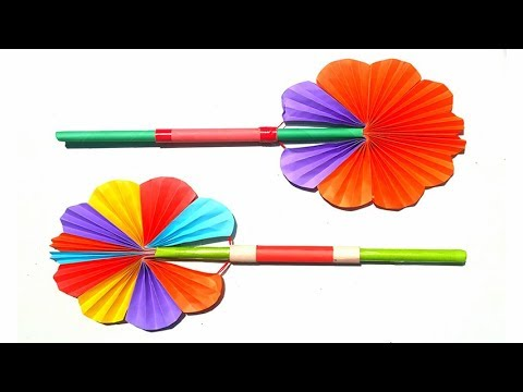 How To Make A Hand Fan With Paper ! DIY Paper Hand Fan ! Origami Paper Hand Fan Making
