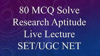 MCQ Research aptitude solved Old Question paper SET UGC NET