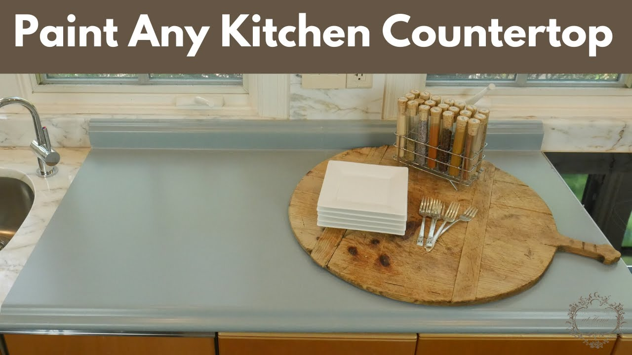 How To Easily Paint Any Kitchen Countertop Diy Tutorial Youtube