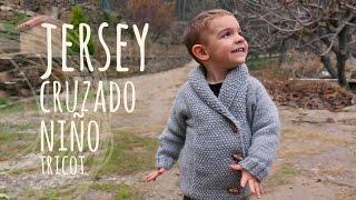 Repeat youtube video Tutorial Jersey Niño Cruzado Fácil Tricot | Dos agujas