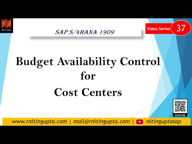 Cost Centers Budget Availability Control in S/4HANA 1909