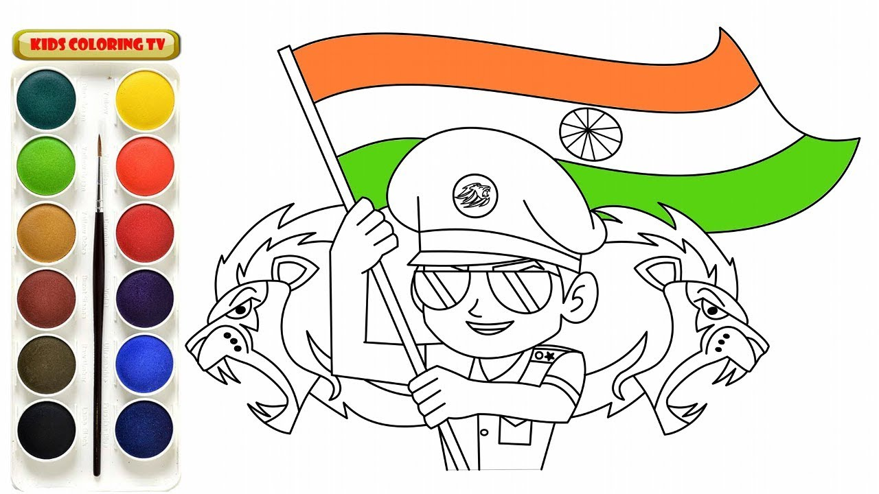 Little Singham Animation Cartoon Coloring Page