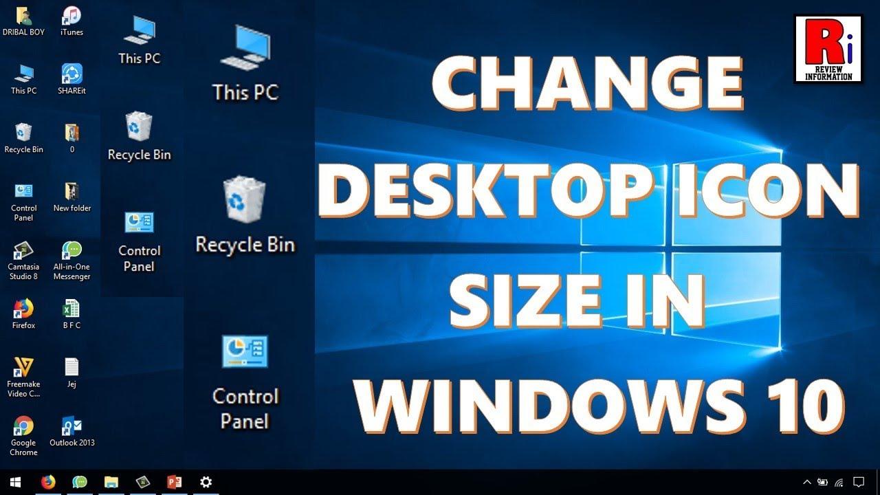 change desktop icon size windows 10