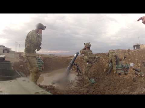 U.S. Army Paratroops Fire Mortars in Mosul