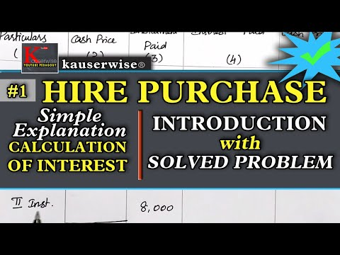 #1 Hire Purchase System | Calculation of Interest | Introduction with Solved Problem | kauserwise®