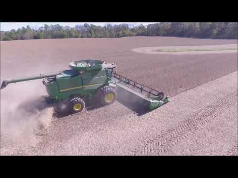 KLEIN FARMS SOYBEAN HARVEST OCT 19, 2017 DRONE AERIAL FOOTAGE LIBERTY, IN