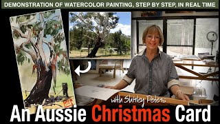 Learn to Paint! An Aussie Christmas Tree Card: step-by-step demonstration of sketch, watercolour.