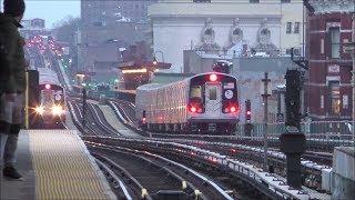 NYC Subway HD 60fps: Evening Action on The J, M, Z [Jamaica El] @ Gates Avenue & Kosciuszko Street