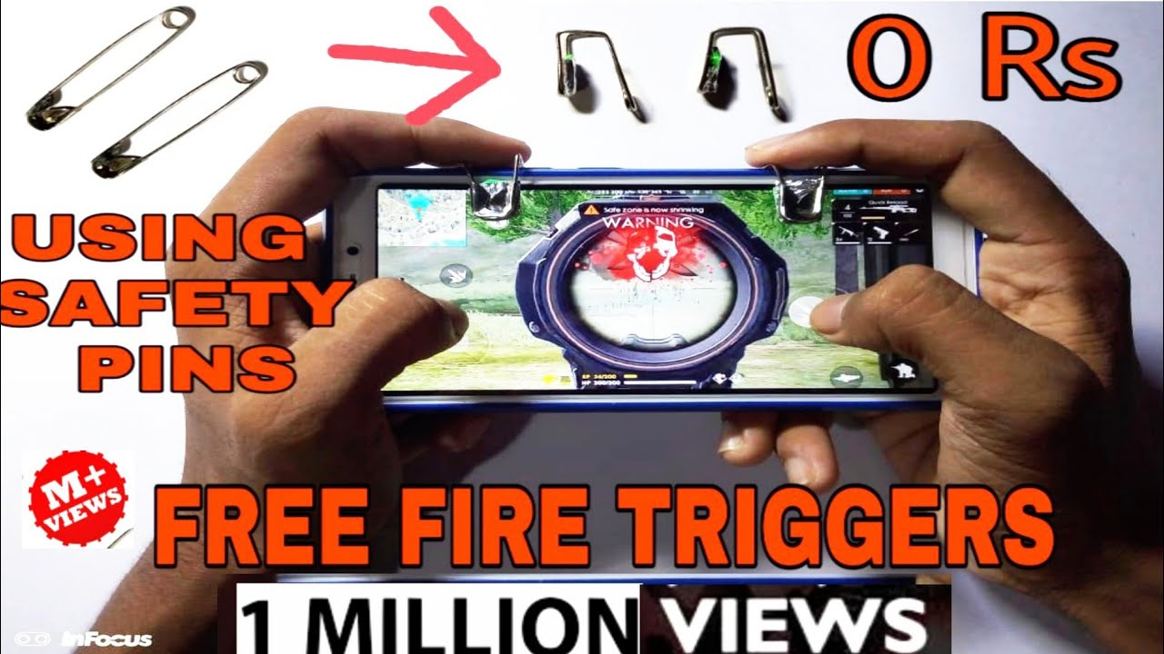 How to make Triggers for Free Fire using Safety pins | Simple PUBG TRIGGERS |  FREE FIRE Game #1