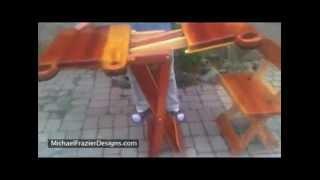 Folding Redwood Patio Set - Michael Frazier Designs