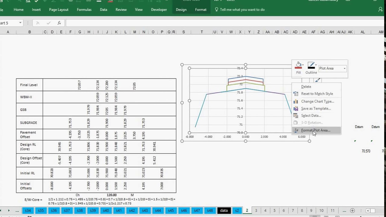 HOW TO DRAW ROAD X SECTION IN EXCEL
