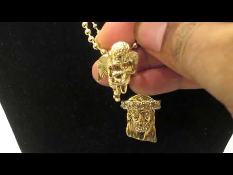 Gold Micro Mini Jesus Piece Praying Angel Pendant Ball Chain Necklace | Hip Hop jewelry