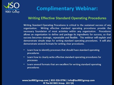 Writing Effective Standard Operating Procedures - YouTube - How To Write A Standard Operating Procedure