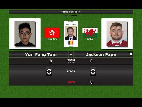 Snooker U18 Final : Yun Fung Tam vs Jackson Page