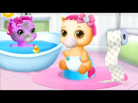 Маленькие 4 Сестренки Пони и Радужный Единорог Открывают Подарки/Игра Мультик: Играем и Ухаживаем