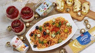 Weihnachtsmenü - Weihnachtliches Tiramisu im Glas I Mediterrane Pasta I Bruschetta mit Ziegenkäse