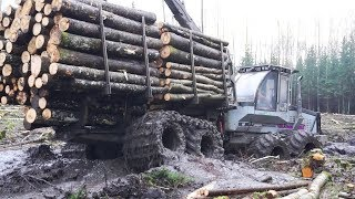 Logset 6F logging in wet forest, difficult conditions, big load