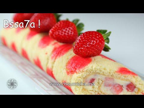 choumicha-:-gâteau-roulé-imprimé-aux-fraises-|-شميشة-:-حلوى-ملفوفة-منقطة-محشوة-بالفراولة