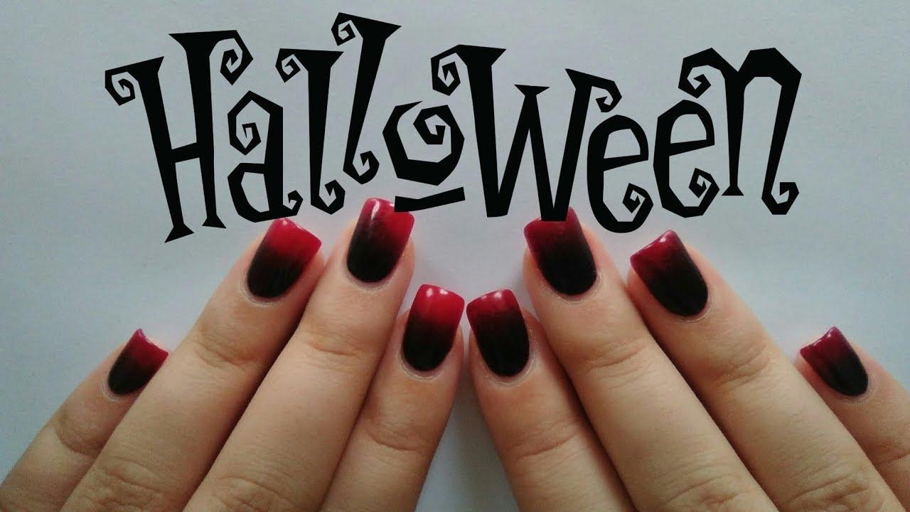 Uñas Degradadas Rojo A Negro Black To Red Ombre Nails Rakelnails