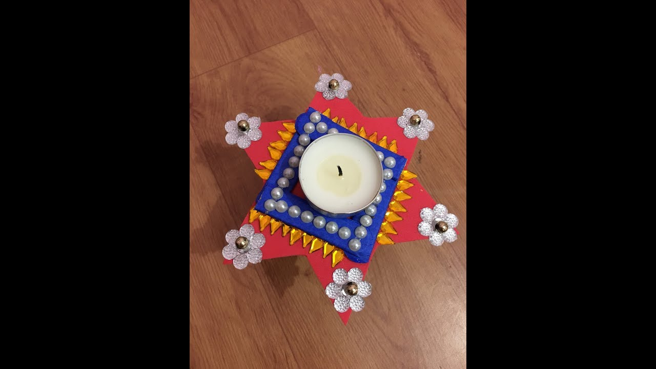 Diya decoration ideas star diya stand diya decoration for Diya decoration youtube