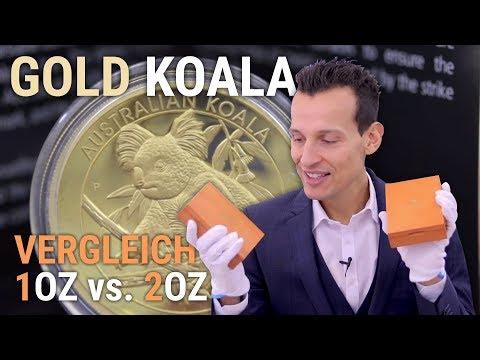 GOLD KOALA - 1 Unze & 2 Unzen Goldmünze im Vergleich