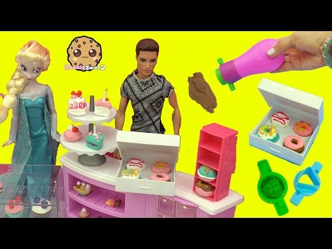 Queen Elsa & Princess Anna Order Mini Donuts at Barbie Bakery - Poppit Air Dry Clay Dough Playset