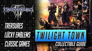 Kingdom Hearts 3 - Twilight Town Collectible Guide - All Treasures, Lucky Emblems and Games