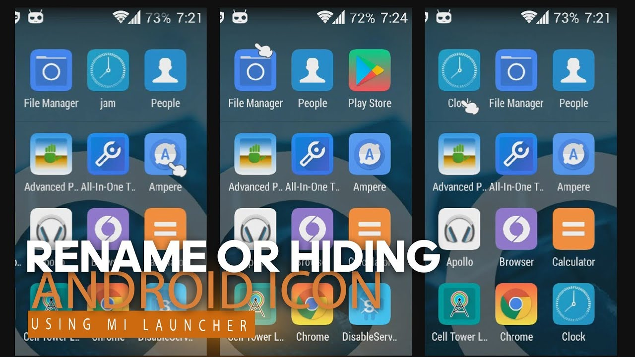 Hide Icon And Rename Icon Android Mi Launcher Youtube