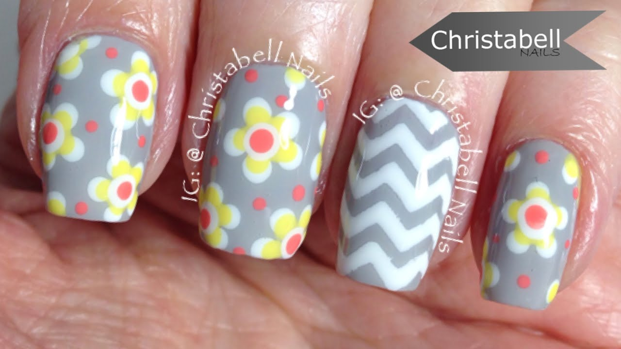 christabellnails floral and chevron